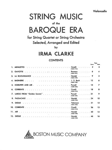 String Music of the Baroque Era - Cello