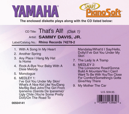 Sammy Davis, Jr. - That's All! (2-Disk Set) - Piano Software