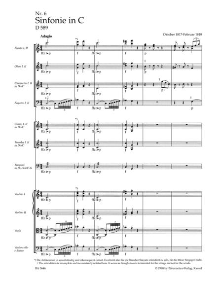 Symphony, No. 6 C major D 589