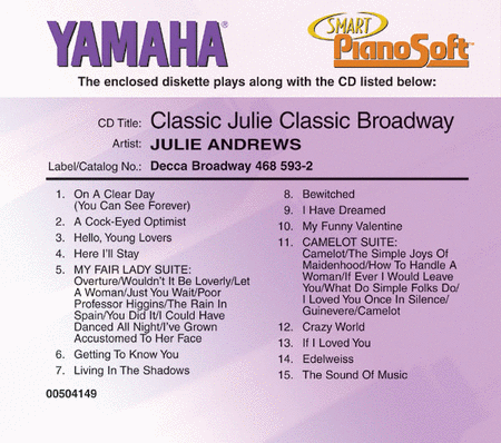 Julie Andrews - Classic Julie, Classic Broadway - Piano Software