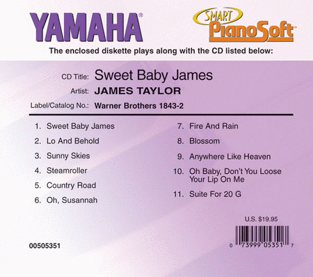 James Taylor - Sweet Baby James - Piano Software