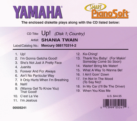 Shania Twain - Up! (2-Disk Set) - Piano Software