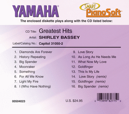 Shirley Bassey - Greatest Hits - Piano Software
