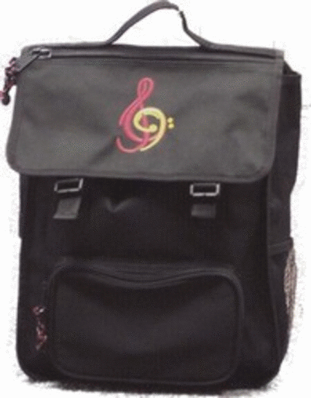 Backpack - Black with Red Treble Clef and Yellow Bass Clef (Large)