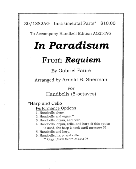 In Paradisum - Cello and Harp Parts