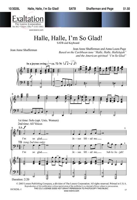 Halle, Halle, I'm So Glad