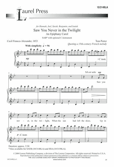 Saw You Never in the Twilight: An Epiphany Carol