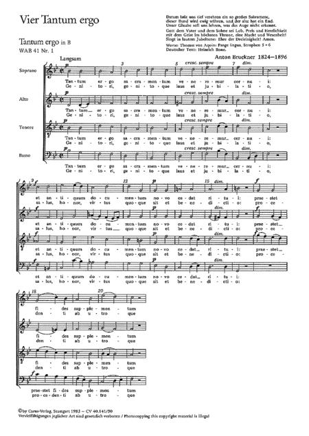 Bruckner: Vier Tantum-ergo-Vertonungen