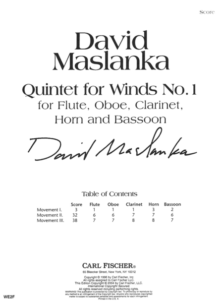 Quintet for Winds No.1