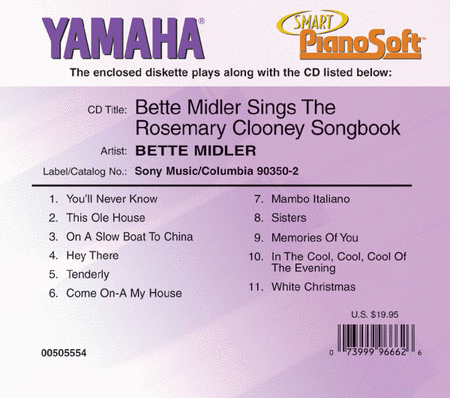 Bette Midler Sings the Rosemary Clooney Songbook - Piano Software