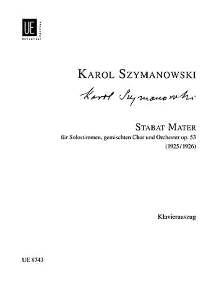 Stabat Mater, Vocal Score