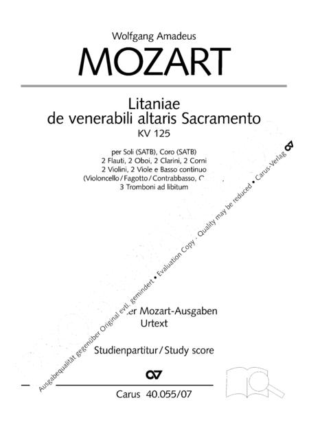 Litaniae de venerabili altaris Sacramento in B