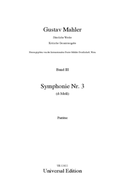Symphony #3 in D Minor Critical Edition Score
