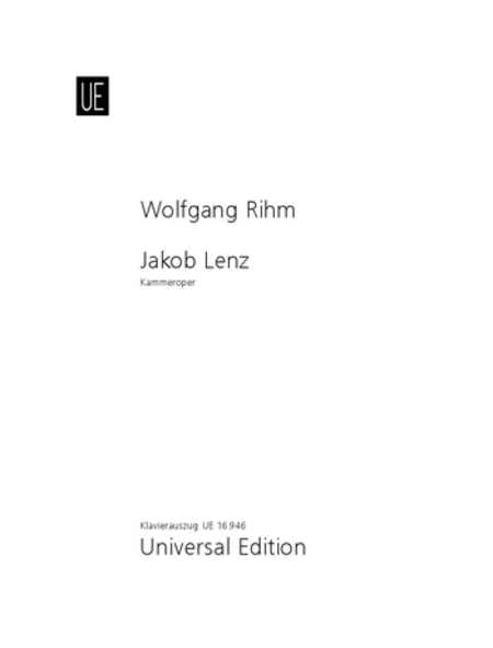 Jakob Lenz, Vocal Score
