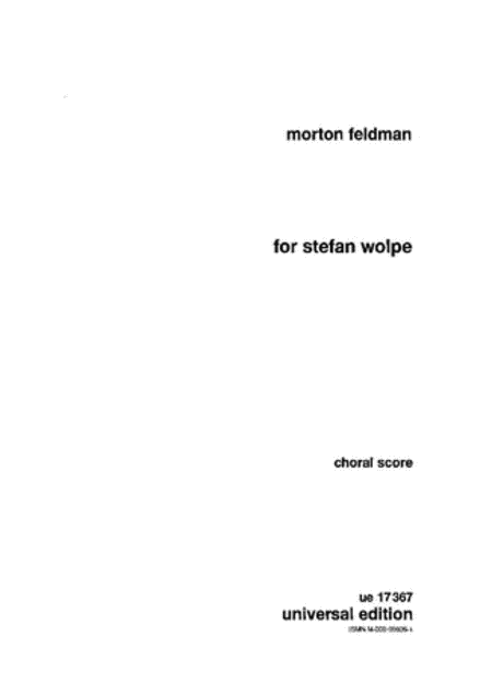 For Stefan Wolpe, Choral Score
