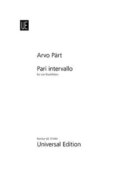 Pari Intervallo - Recorder Quartet
