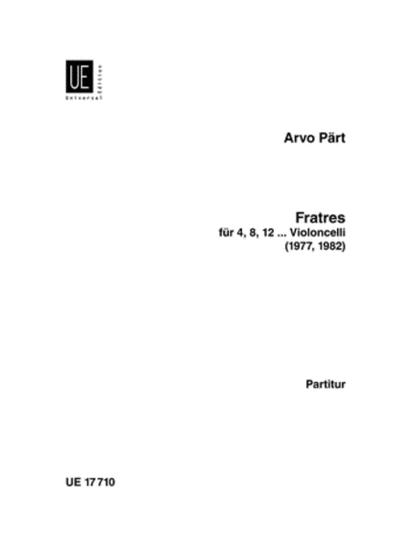 Fratres for Cellos, Score