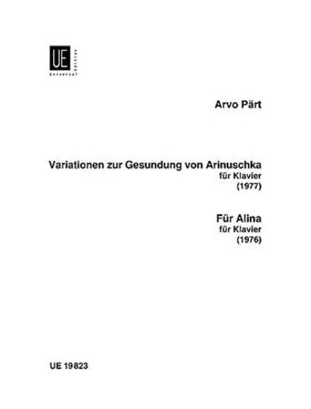 Variationen zur Gesundung von Arinuschka; Fur Alina