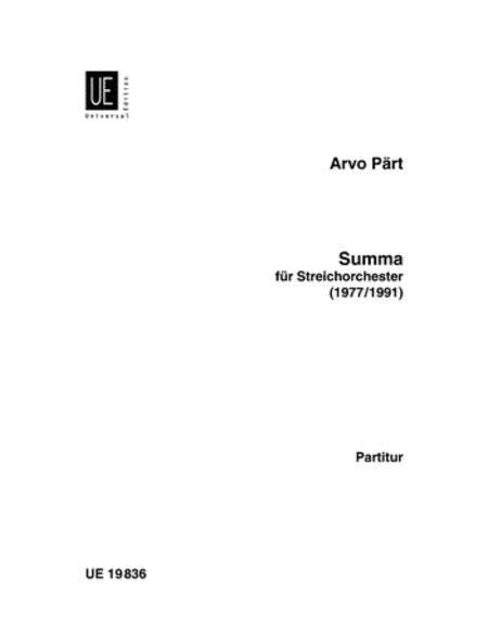 Summa, String Orchestra, Score