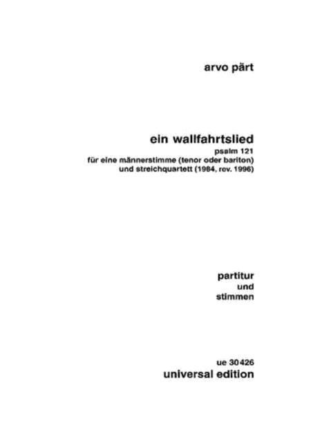 Wallfahrtslied, Tenor/String Quartet