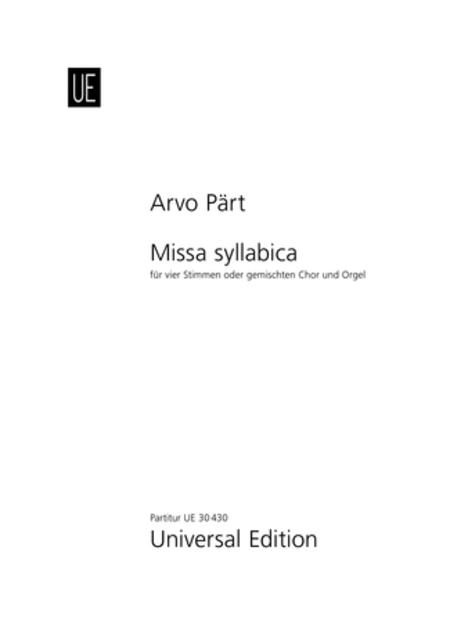 Missa Syllabica, SATB/Organ, Score
