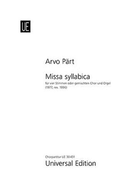 Missa Syllabica, SATB/Organ, Chorus
