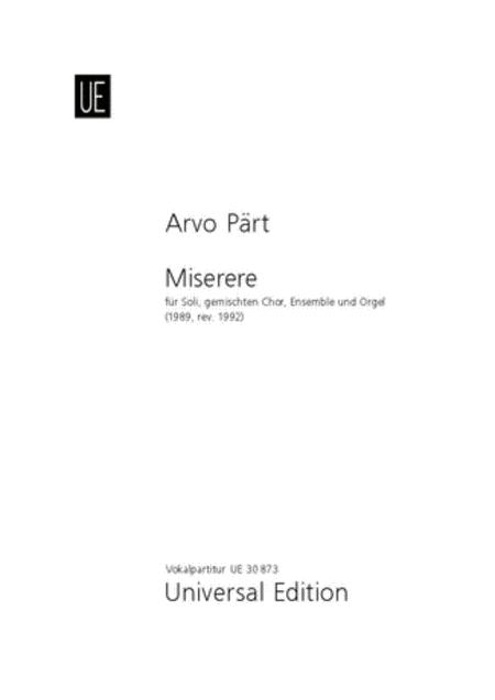 Miserere, Vocal Score