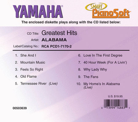 Alabama - Greatest Hits - Piano Software