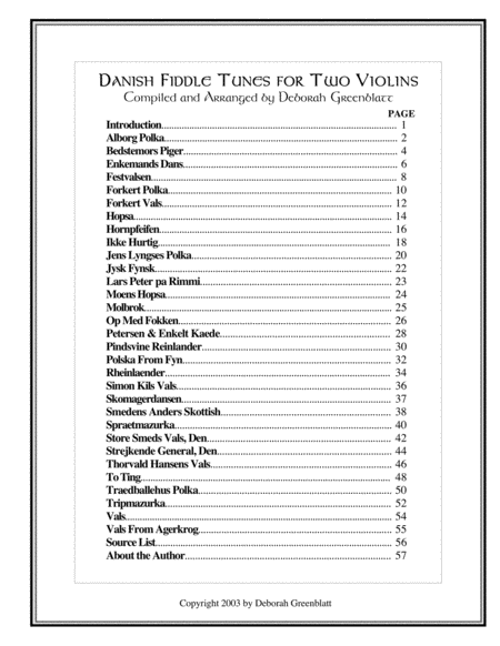 Danish Fiddle Tunes for Two Violins