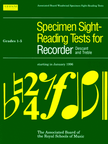 Specimen Sight-Reading Tests for Recorder, Grades 1-5