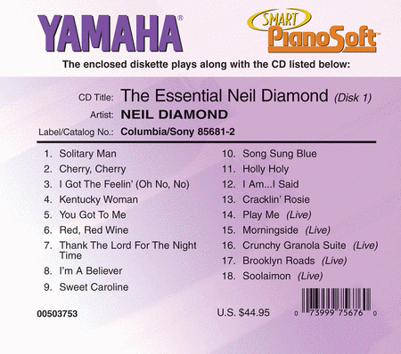 The Essential Neil Diamond (2-Disk Set) - Piano Software