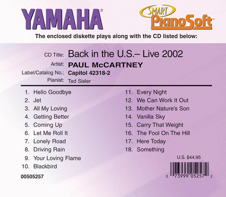 Paul McCartney - Back in the U.S., Live 2002 (2-Disk Set) - Piano Software
