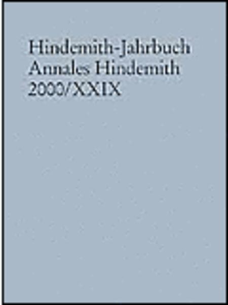 Hindemith-Jahrbuch Annales Hindemith 2000/29