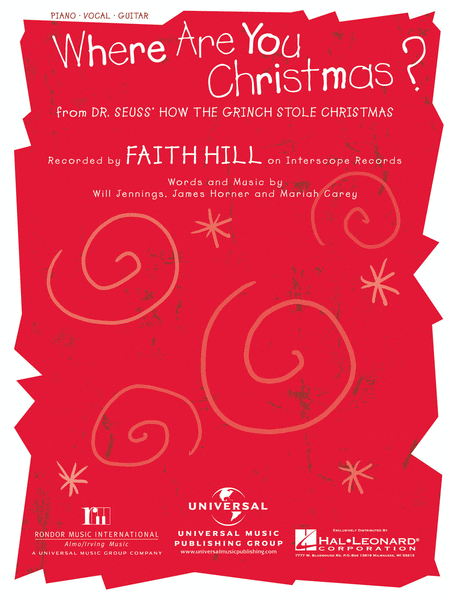 Where Are You Christmas? Sheet Music By Faith Hill - Sheet Music Plus