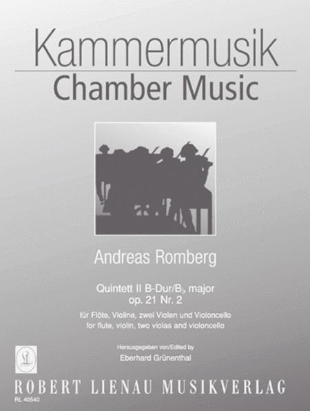 Quintet II B flat major op. 21, no. 2 for flute, violin, 2 violas and violoncello