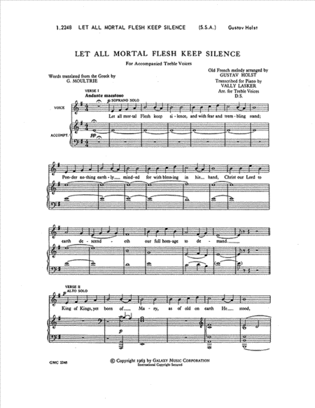 Three Festival Choruses: Let All Mortal Flesh Keep Silence (Choral Score)