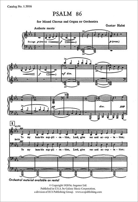 Psalm 86: To My Humble Supplication (organ/vocal score)