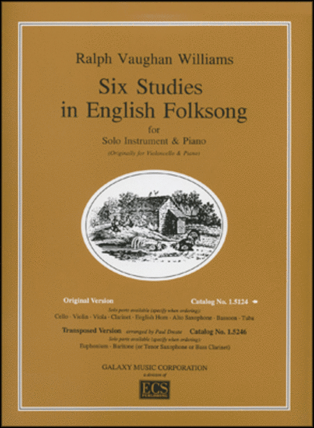 Six Studies in English Folksong - Cello and Piano