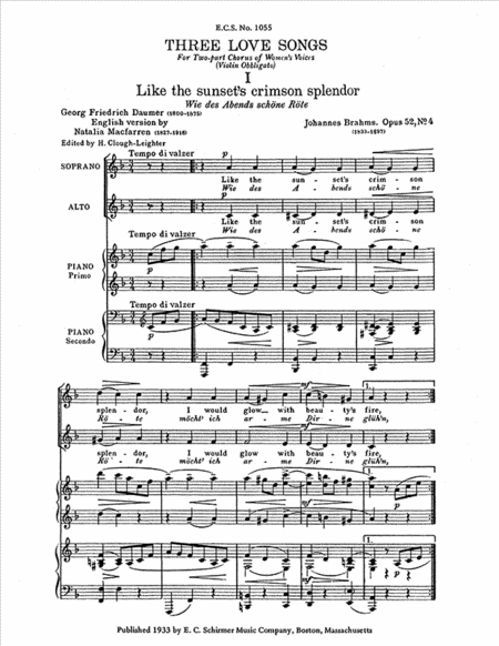 Three Love Song Waltzes, Op. 52/4,13, Op. 65/13