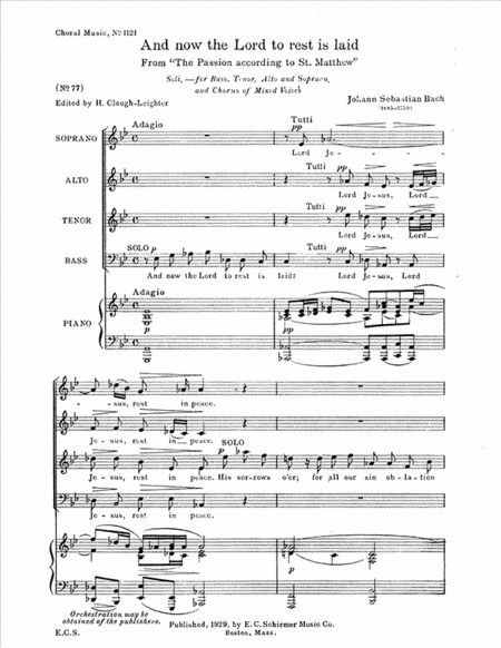 And Now the Lord to Rest is Laid, BWV 244