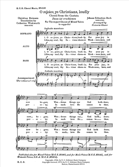 O Rejoice, Ye Christians, Loudly, BWV 40
