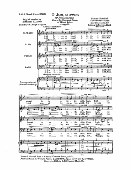O Jesu, So Sweet, BWV 493