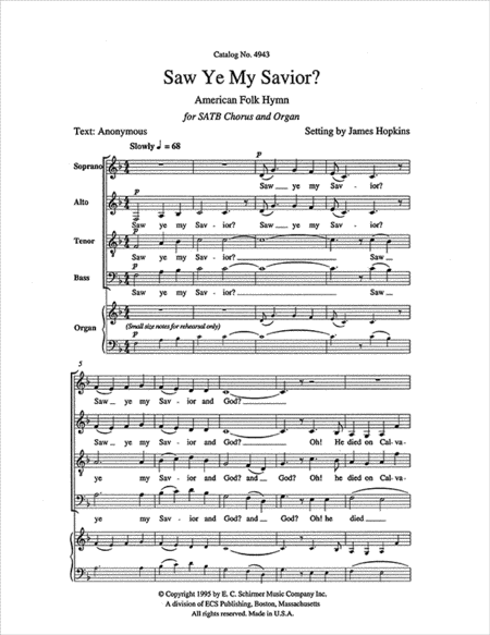 Five American Folk Hymns: Saw Ye My Savior?