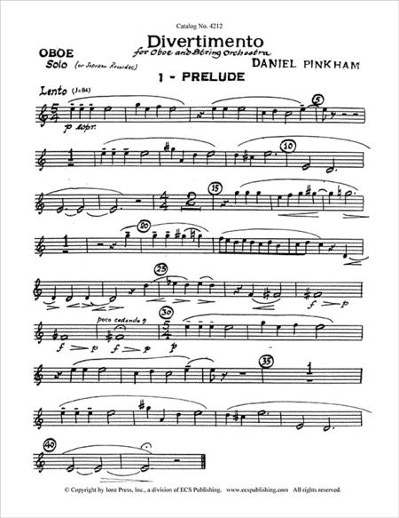 Divertimento for Oboe & Strings (Oboe Part)