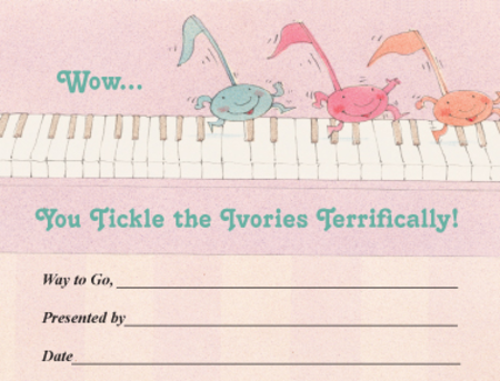 Award Certificates Mini - Tickle the Ivories