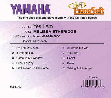 Melissa Etheridge - Yes I Am - Piano Software