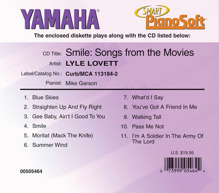 Lyle Lovett - Smile: Songs from the Movies - Piano Software