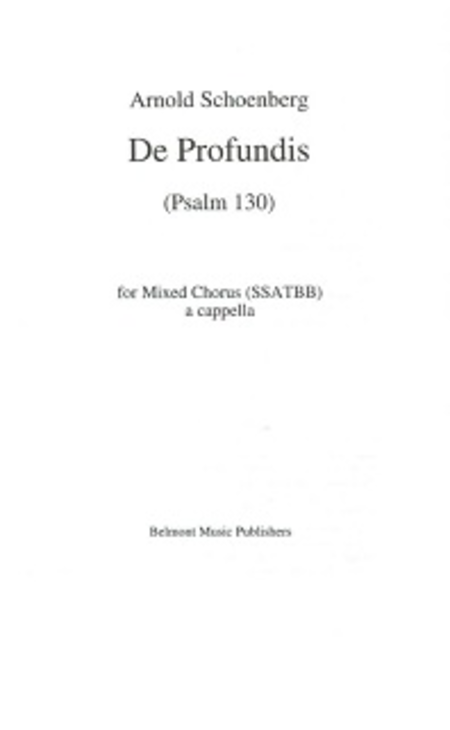 De Profundis, Op. 50b (Psalm 130) for Mixed Chorus (SSATBB)