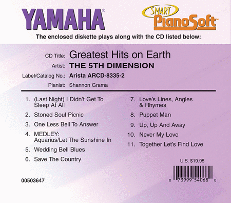 The 5th Dimension - Greatest Hits on Earth - Piano Software