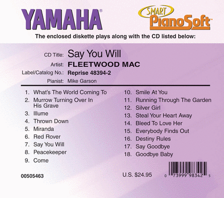Fleetwood Mac - Say You Will - Piano SoftwareFleetwood Mac - Say You Will - Piano Software
